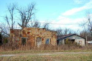 Jim Collins' Garage was built about two miles east of Heatonville, Missouri on the north side of Route 66. It is gone today. Photo by Kathy Weiser-Alexander.