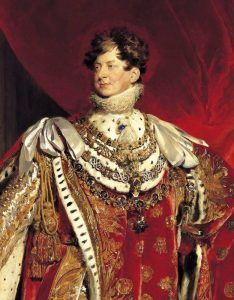 English King George IV wearing what appears to be a large blue diamond.