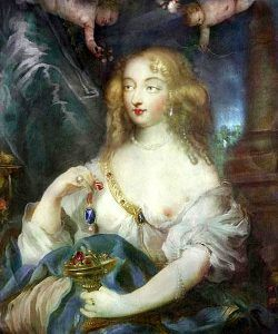 Madame de Montespan, King Louis IV's mistress, holding the Blue Diamond of the Crown.