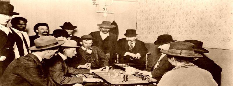 Faro gambling card game about 1900.
