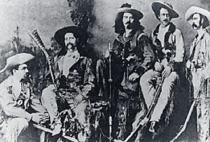 Wild Bill Hickok, second from left, Charlie Utter, far right.
