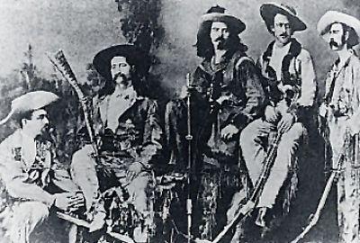 Wild Bill Hickok, second from left, Charlie Utter, far right.
