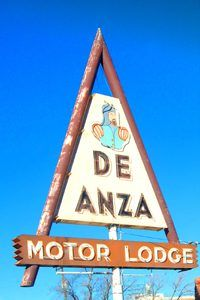 De Anza Motor Lodge Sign in Albuquerque, New Mexico by Kathy Weiser-Alexander.