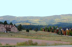 Condos at Angel Fire, New Mexico by Kathy Weiser-Alexander.