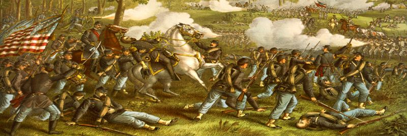 Battle of Wilsons Creek near Springfield, Missouri by Kurz and Allison 1893