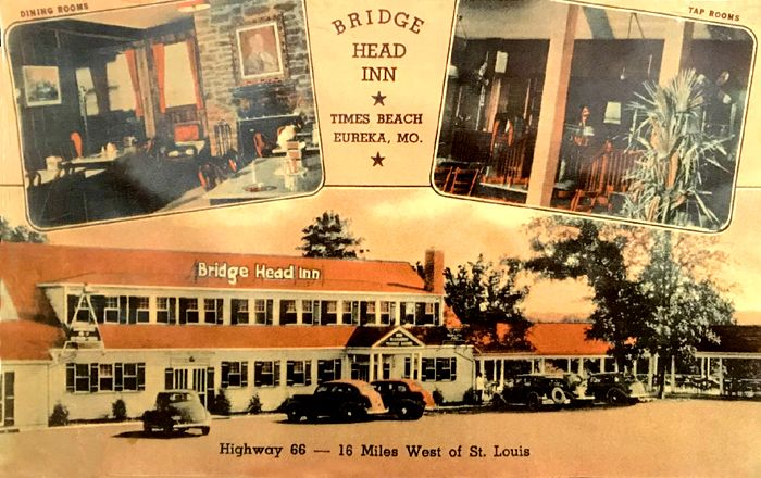 The Bridgehead Inn in Times Beach, Missouri opened in 1935. It later served Steiny's Inn here until 1972. Today, the building serves as the Route 66 State Park Visitor's Center.