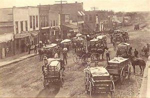 Cotton wagons in Bristow, Oklahoma.