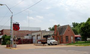Old Phillips 66 station in Chandler, Oklahoma by Kathy Weiser-Alexander.