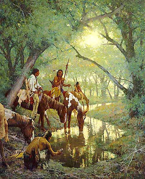 Cheyenne at the Disappearing Creek called White Woman by Howard Terpning