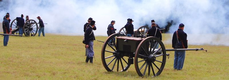 Re-enactors fire cannons during the 149th Anniversary of the Battle of Chickamauga, Georgia. Photo by Dave Alexander.