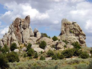 Devil's Bedstead rock formation at the City of Rocks, Idaho by the National Park Service.