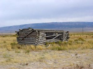 An outbuilding from an old homestead at the City of Rocks, Idaho by the National Park Service.