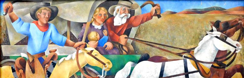 Race for Land Mural at City Hall in Clinton, Oklahoma. Painted by Loren Mozeley in 1938.