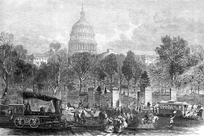 Washington Congress adjourning for the day, 1866.