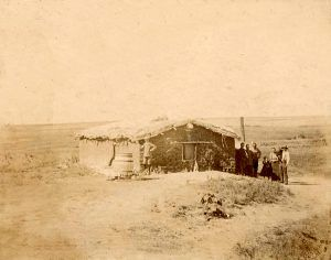 Sod house in Edwards County, Kansas.