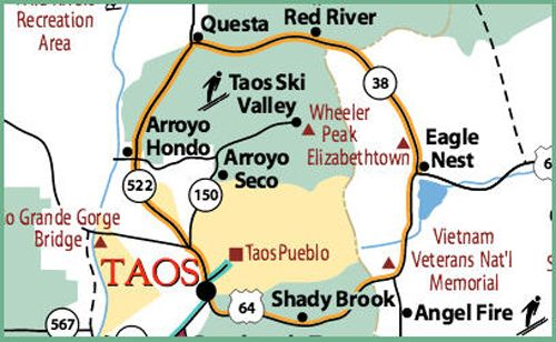Enchanted Circle Map, courtesy New Mexico Tourism