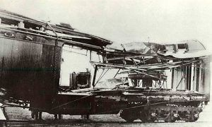 "Express car blown up by ""The Wild Bunch"" at Wilcox, Wyoming in June 1899,"