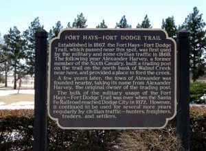 Fort Hays-Fort Dodge Marker in Alexander, Kansas.
