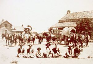 Travelers resting at Fort Concho, Texas.