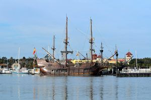 Galleon ship moored at St. Augustine. Florida marina