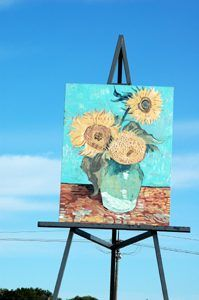 Sunflower painting in Goodland, Kansas by Reletta Clumsky.