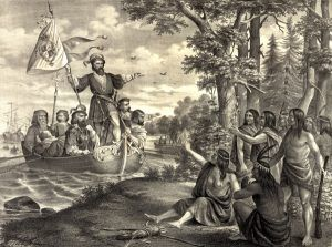 Landing of Christopher Columbus in America, at San Salvador, October 12, 1492.