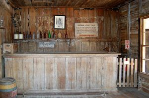 Jersey Lilly Saloon Interior in Langtry, Texas by Kathy Weiser-Alexander.