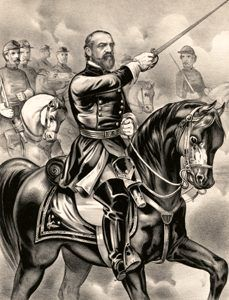 Union Major General George Meade at the Battle of Gettysburg, Pennsylvania by Currier & Ives, 1863.