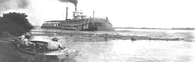 Paddlewheel Steamboat on the Missouri River in Doniphan County, Kansas.