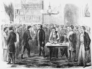 President Andrew Johnson pardoning Rebels at the White House in 1865 by Stanley Fox