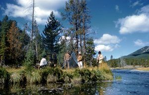 Re-enactment of Washburn-Langford camp in Yellowstone, 1960.