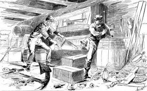 The Charlton Street Gang of river pirates raided ship cargo in the mid-late 19th century along the New York City waterfront.