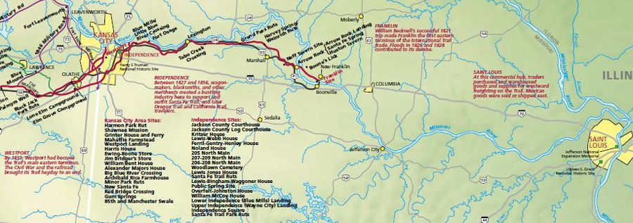 Missouri Santa Fe Trail Map courtesy National Park Service