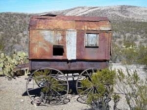 An old chuckwagon at Shakespeare, New Mexico by Kathy Weiser-Alexander.