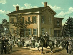 Abraham Lincoln at his home in Springfield, Illlinois by Rees Print & Litho. Co.