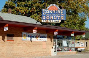 Sonrise Donuts on Route 66 in Springfield, Illinois by Kathy Weiser-Alexander.