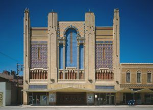The 1927 theater building in St. Joseph, Missouri now serves the performing arts.
