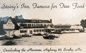 A postcard from the 1950s shows Steiny's Inn in its heydays of Route 66.