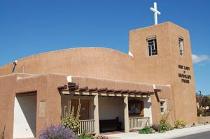 Our Lady of Guadalupe Church in Taos, New Mexico by Kathy Weiser-Alexander.