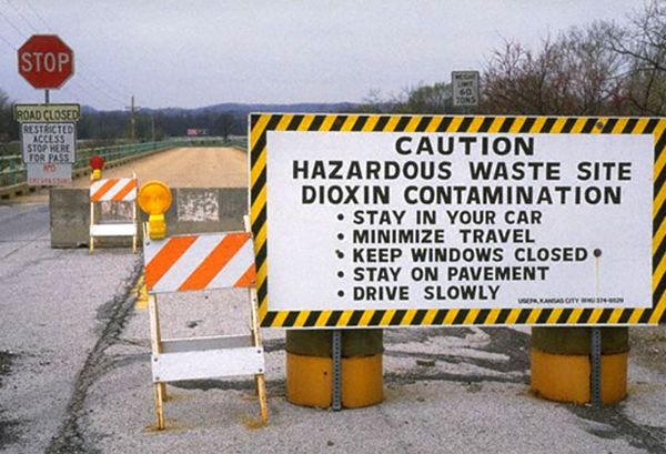 Warning at Times Beach, Missouri.