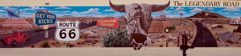 Route 66 Mural in Tucumcari, New Mexico painted by artist Doug and Sharon Quaries.