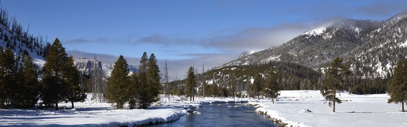 A wintertime view of the Yellowstone River in Yellowstone National Park by Carol Highsmith.