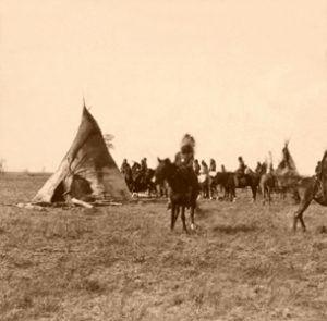 Pawnee Camp in Nebraska by John Carbutt, 1866.