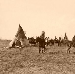 Pawnee Camp in Nebraska by John Carbutt, 1866.