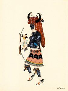 Buffalo Dance by Awa Tsireh, about 1925.