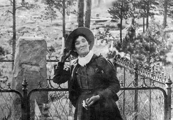 Calamity Jane at Wild Bill Hickok's Grave.