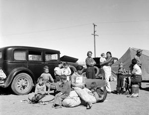 Texas Dust Bowl Refugees in Calipatria, California by Dorthea Lange, 1937.