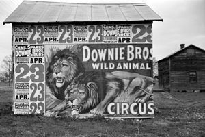 Circus Poster on on building in Lynchburg, Tennessee, by Walker Evans, 1936.