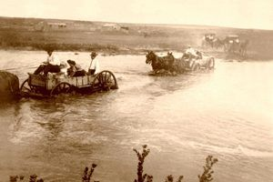 Fording the Cimarron River in Grant County, Kansas