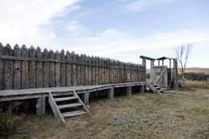 A reconstructed stockade wall at Fort Phil Kearny, Wyoming by Carol Highsmith.